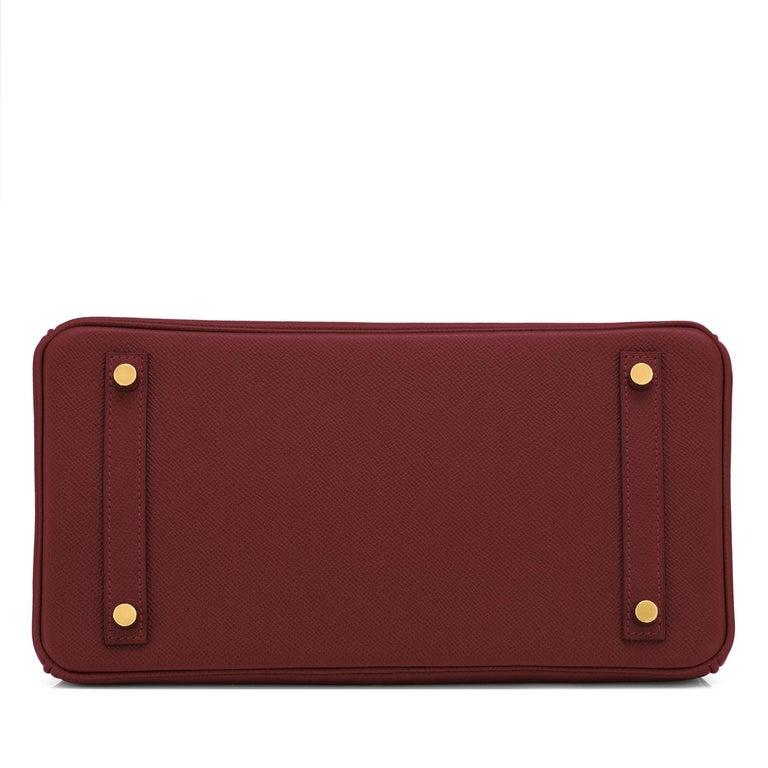 Hermes Birkin 30 Rouge H Red Birkin Epsom Bordeaux Gold Bag Y Stamp, 2020 For Sale 3