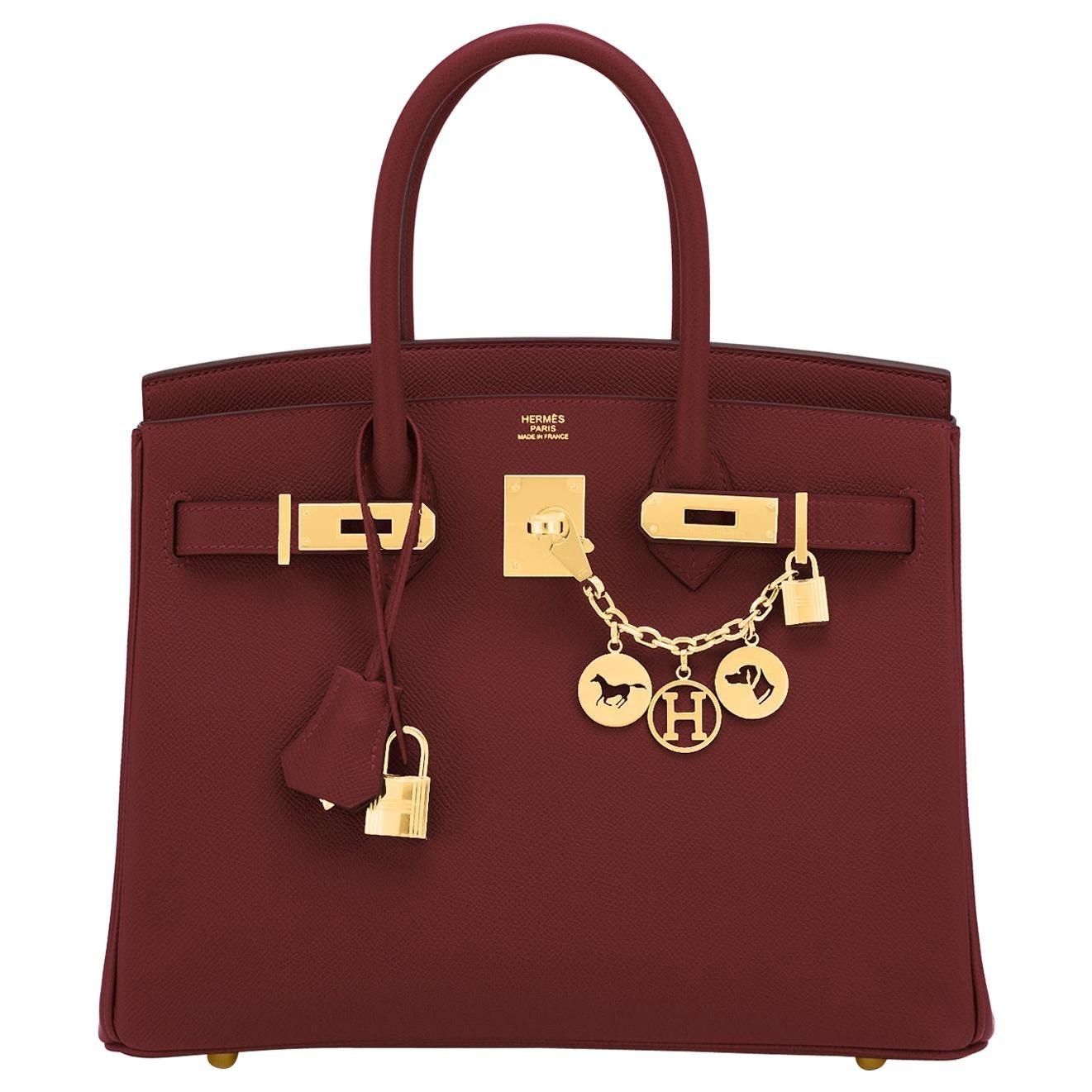 Hermes Birkin 30 Rouge H Red Birkin Epsom Bordeaux Gold Bag Y Stamp, 2020