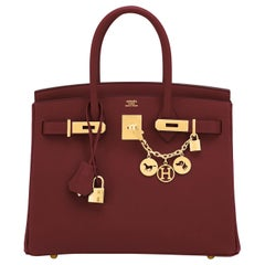 Hermes Birkin 30 Rouge H Red Birkin Epsom Bordeaux Gold Bag Y Stamp, 2020