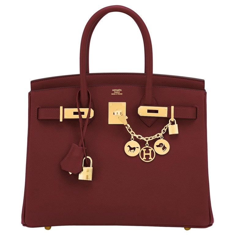 Hermes Birkin 30 Rouge H Red Birkin Epsom Bordeaux Gold Bag Y Stamp, 2020 For Sale