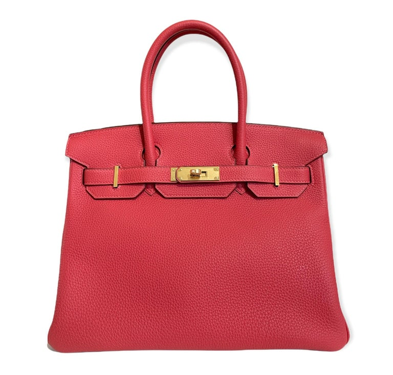 Stunning As New 2020 Hermes Birkin 30 Rouge Pivoine Togo Gold Hardware. As new condition from collectors closet.   Y Stamp 2020.  Shop with Confidence from Lux Addicts. Authenticity Guaranteed!