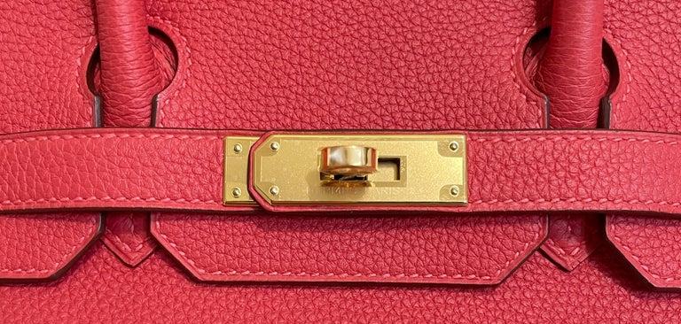 Hermes Birkin 30 Rouge Pivoine Red Togo Gold Hardware New  1