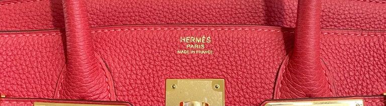Hermes Birkin 30 Rouge Pivoine Red Togo Gold Hardware New  2