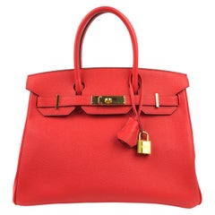 Hermes Birkin 30 Rouge Tomate Red Epsom Gold Hardware