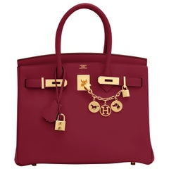 Hermes Birkin 30 Rouge Vif Deep Red Jonathan Gold Bag Y Stamp, 2020