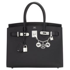 Hermes Birkin 30 Sellier Black Veau Madame Palladium Bag Y Stamp, 2020 RARE
