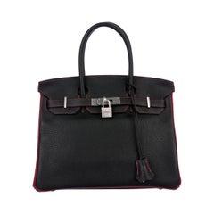 Hermes Birkin 30 Special Black Red Top Handle Satchel Tote Bag in Box