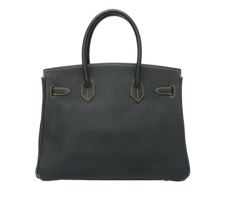 Hermes Birkin 30 Special Green Yellow Gold Top Handle Satchel Carryall Tote Bag In Good Condition For Sale In Chicago, IL