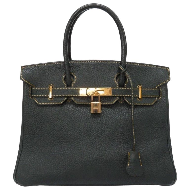 Hermes Birkin 30 Special Green Yellow Gold Top Handle Satchel Carryall Tote Bag For Sale