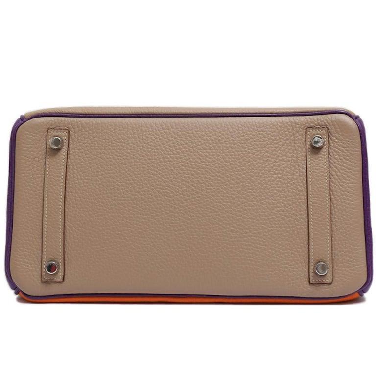 Women's Hermes Birkin 30 Special Order Purple Gray Orange Top Handle Satchel Tote Bag For Sale