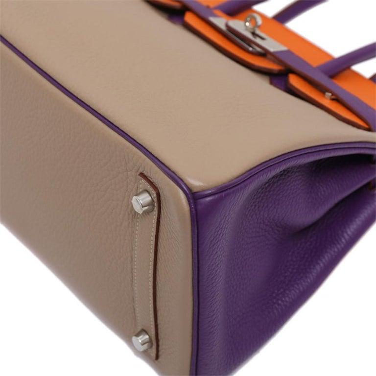 Hermes Birkin 30 Special Order Purple Gray Orange Top Handle Satchel Tote Bag For Sale 1