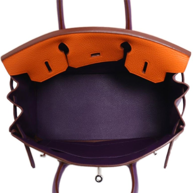 Hermes Birkin 30 Special Order Purple Gray Orange Top Handle Satchel Tote Bag For Sale 2