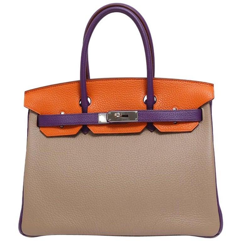 Hermes Birkin 30 Special Order Purple Gray Orange Top Handle Satchel Tote Bag For Sale