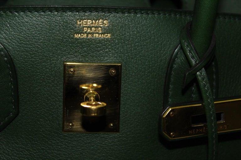 Hermes Birkin 30 Swift Green Leather  For Sale 6