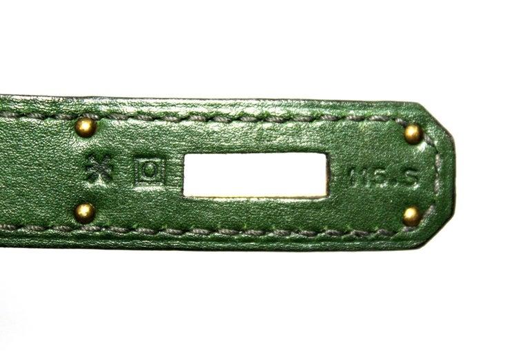 Hermes Birkin 30 Swift Green Leather  For Sale 7