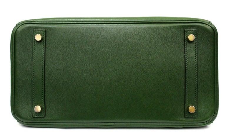 Black Hermes Birkin 30 Swift Green Leather  For Sale
