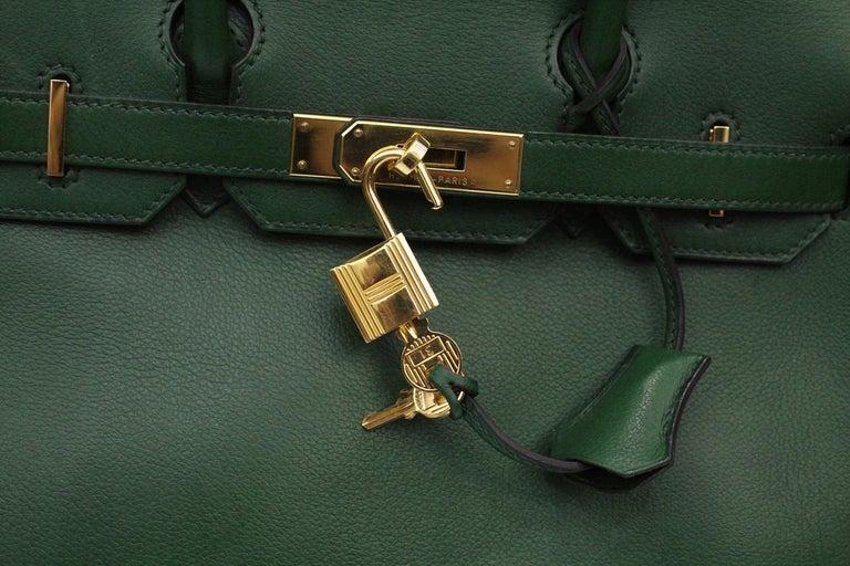 Women's Hermes Birkin 30 Swift Green Leather  For Sale