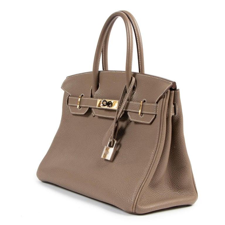 Brown Hermès Birkin 30 Togo Doublure Chevre Pigmente Etoupe PHW For Sale