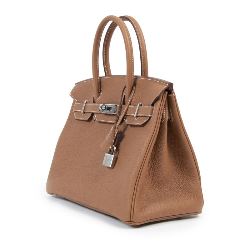 Brown Hermès Birkin 30 Togo Gold PHW For Sale