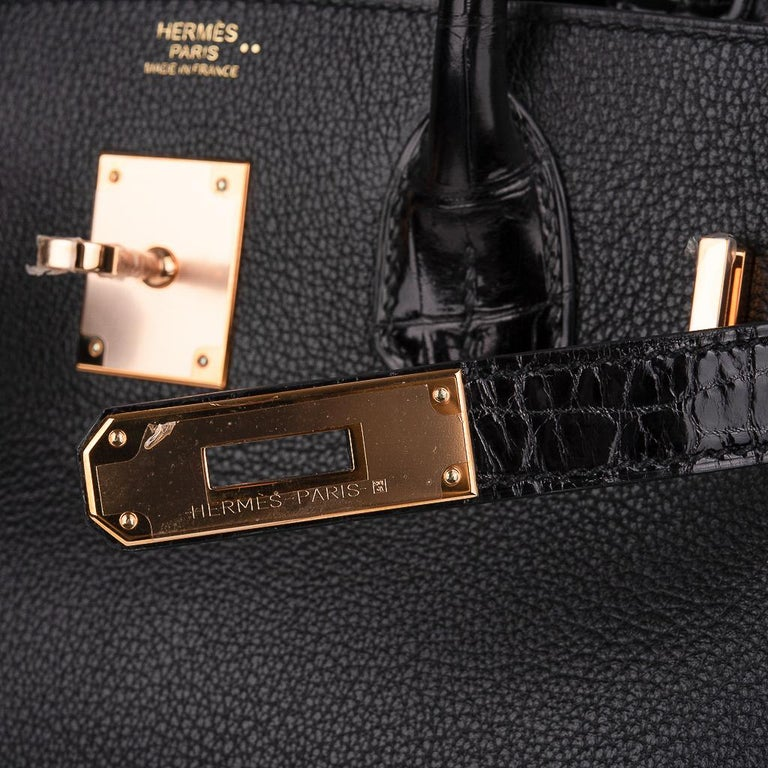 Hermes Birkin 30 Touch Bag Black Crocodile / Black Leather Rose Gold Hardware In New Condition In Miami, FL