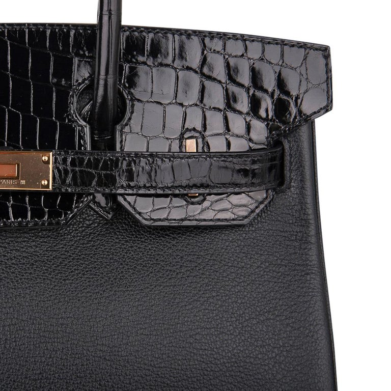 Hermes Birkin 30 Touch Bag Black Crocodile / Black Leather Rose Gold Hardware 1