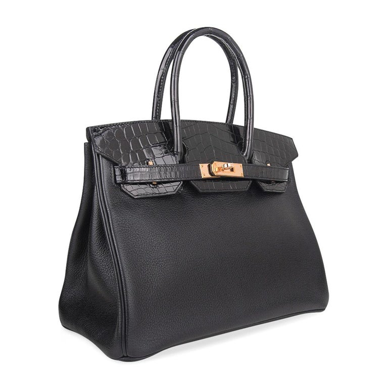 Hermes Birkin 30 Touch Bag Black Crocodile / Black Leather Rose Gold Hardware 2