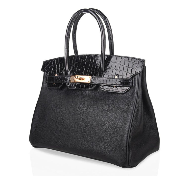 Hermes Birkin 30 Touch Bag Black Crocodile / Black Leather Rose Gold Hardware 4