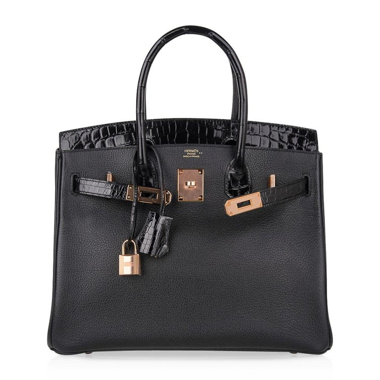 Hermes Birkin 30 Touch Bag Black Crocodile / Black Leather Rose Gold Hardware 5