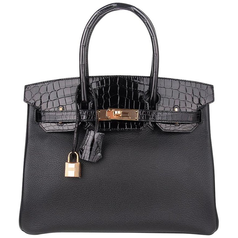 Hermes Birkin 30 Touch Bag Black Crocodile / Black Leather Rose Gold Hardware