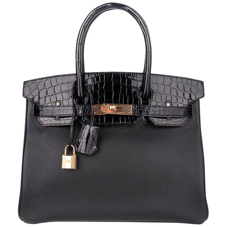Hermes Birkin 30 Touch Bag Black Crocodile / Black Leather Rose Gold Hardware For Sale