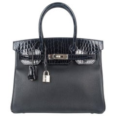 Hermes Birkin 30 Touch Bag Blue Marine Crocodile and Black Leather Palladium