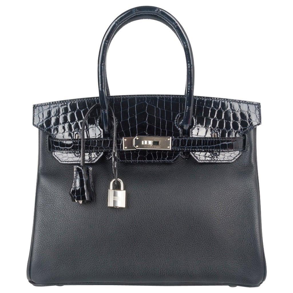 Hermes Birkin 30 Touch Bag Blue Marine Crocodile and Black Leather Palladium