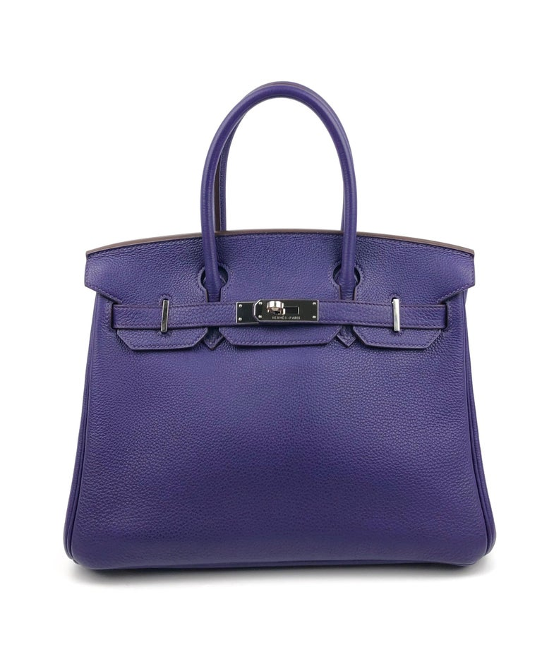Hermes Birkin 30 ultraviolet purple Palladium Hardware. Excellent condition, light hairlines on hardware, perfect corners and excellent structure.  Shop with Confidence from Lux Addicts. Authenticity Guaranteed!