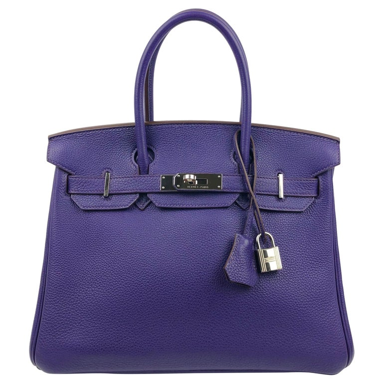 Hermes Birkin 30 Ultraviolet Purple Palladium Hardware For Sale