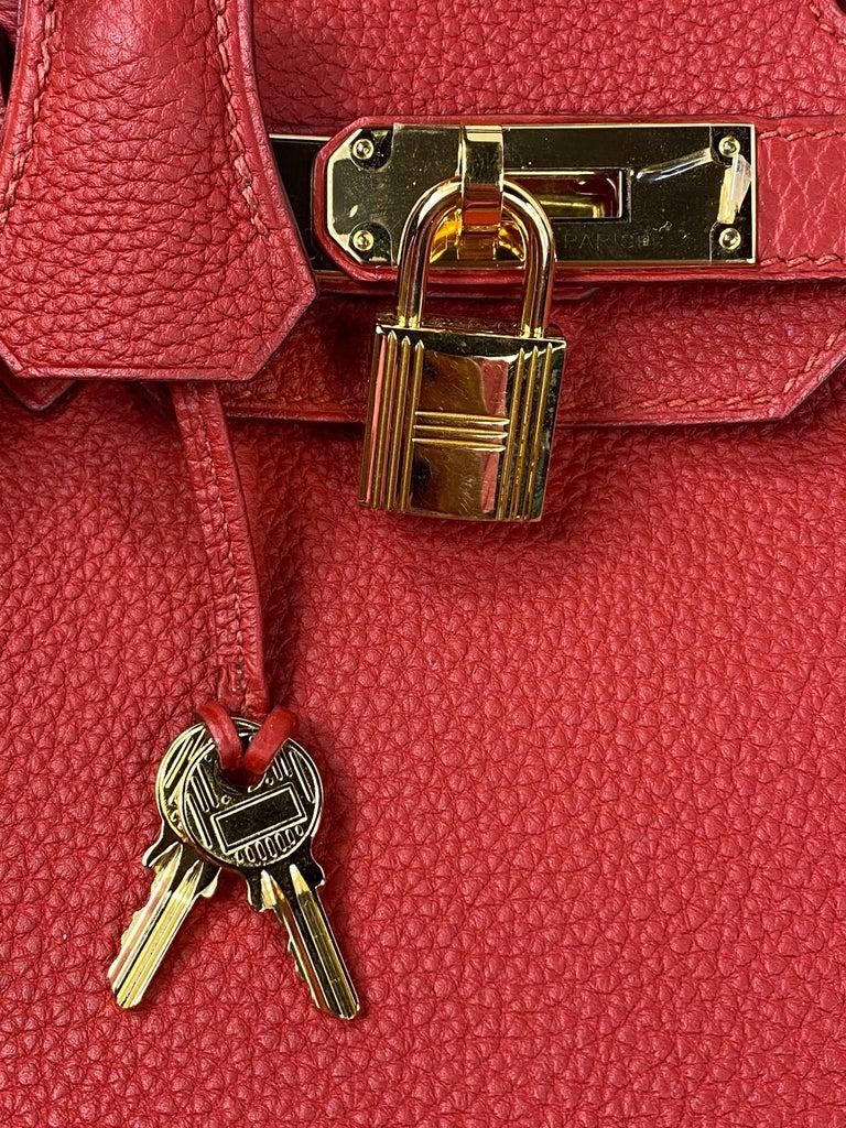 Hermes Birkin 30 Veau Togo Geranium Red Vermillon Handbag  For Sale 6