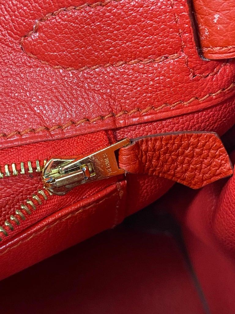 Hermes Birkin 30 Veau Togo Geranium Red Vermillon Handbag  For Sale 9