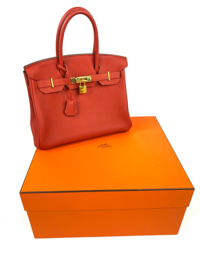 Hermes Birkin 30 Veau Togo Geranium Red Vermillon Handbag  For Sale 11