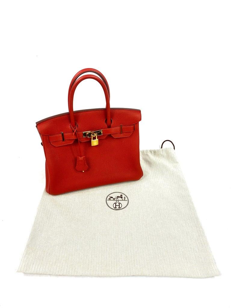 Hermes Birkin 30 Veau Togo Geranium Red Vermillon Handbag  For Sale 12