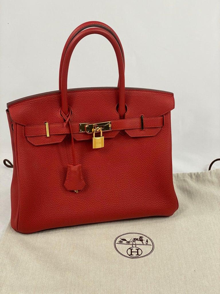 Hermes Birkin 30 Veau Togo Geranium Red Vermillon Handbag  For Sale 13