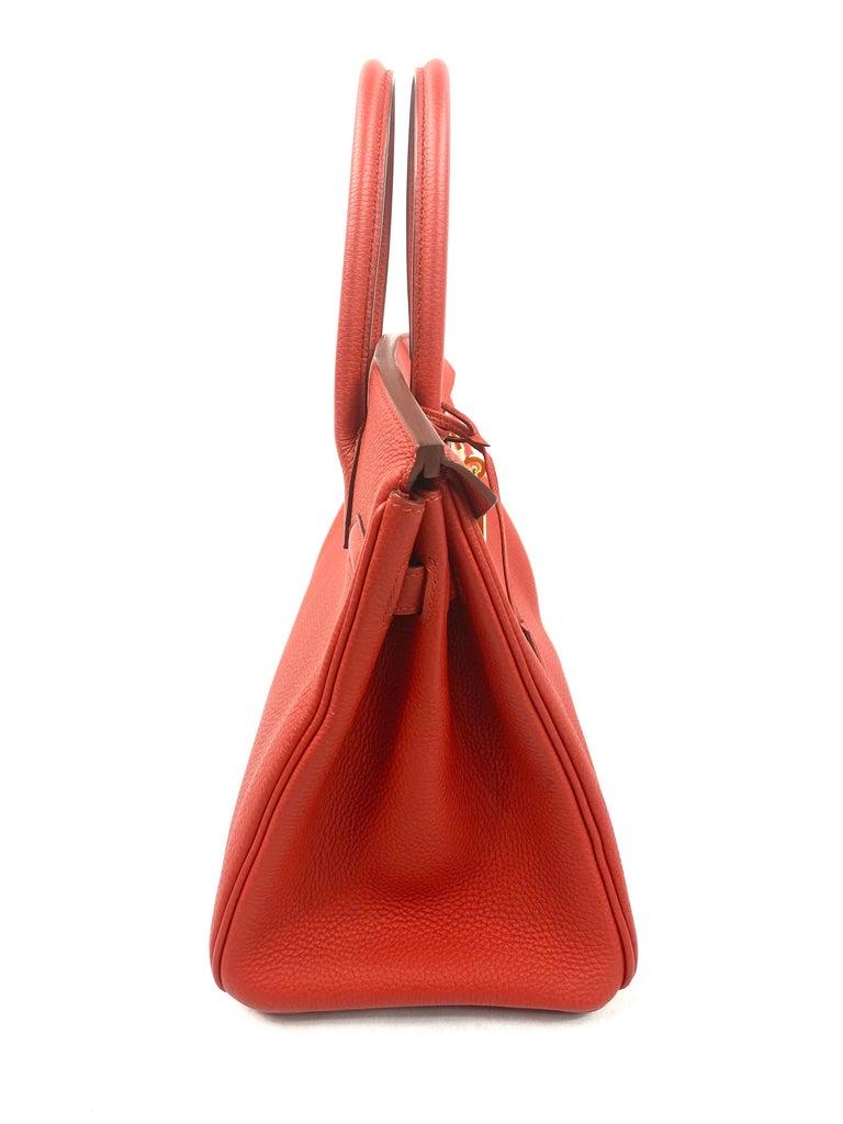 Women's or Men's Hermes Birkin 30 Veau Togo Geranium Red Vermillon Handbag  For Sale