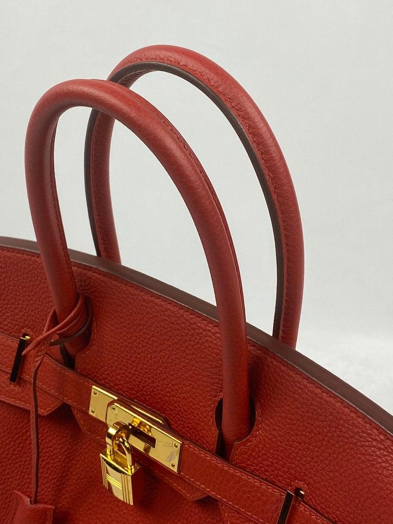 Hermes Birkin 30 Veau Togo Geranium Red Vermillon Handbag  For Sale 2