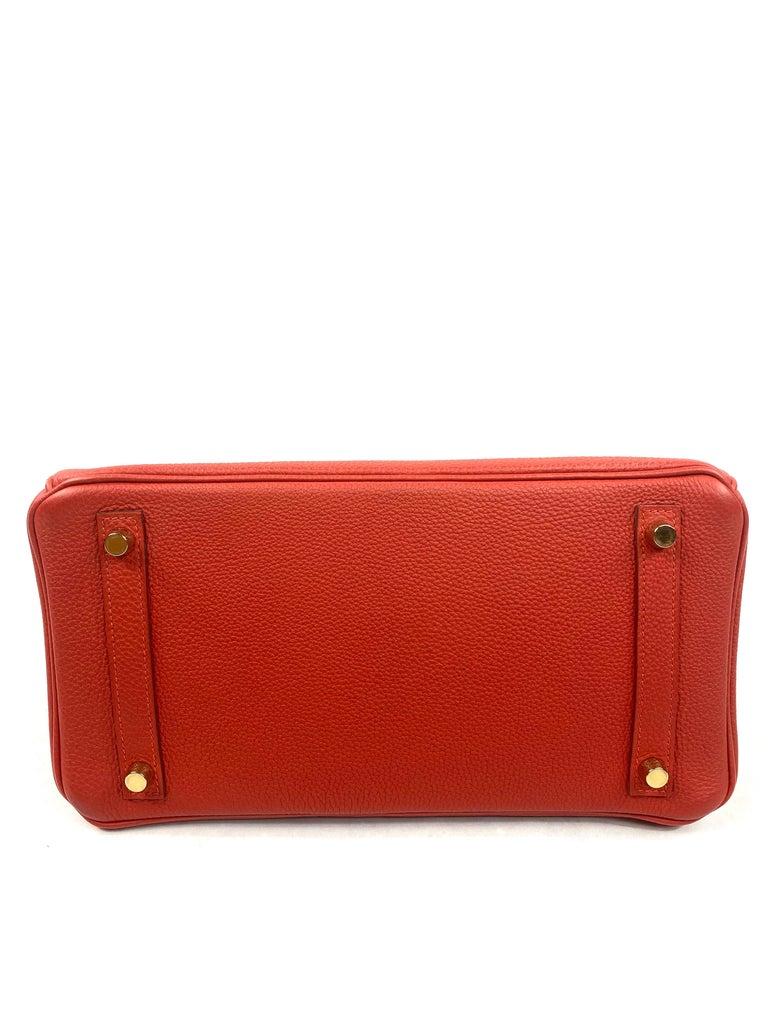 Hermes Birkin 30 Veau Togo Geranium Red Vermillon Handbag  For Sale 3