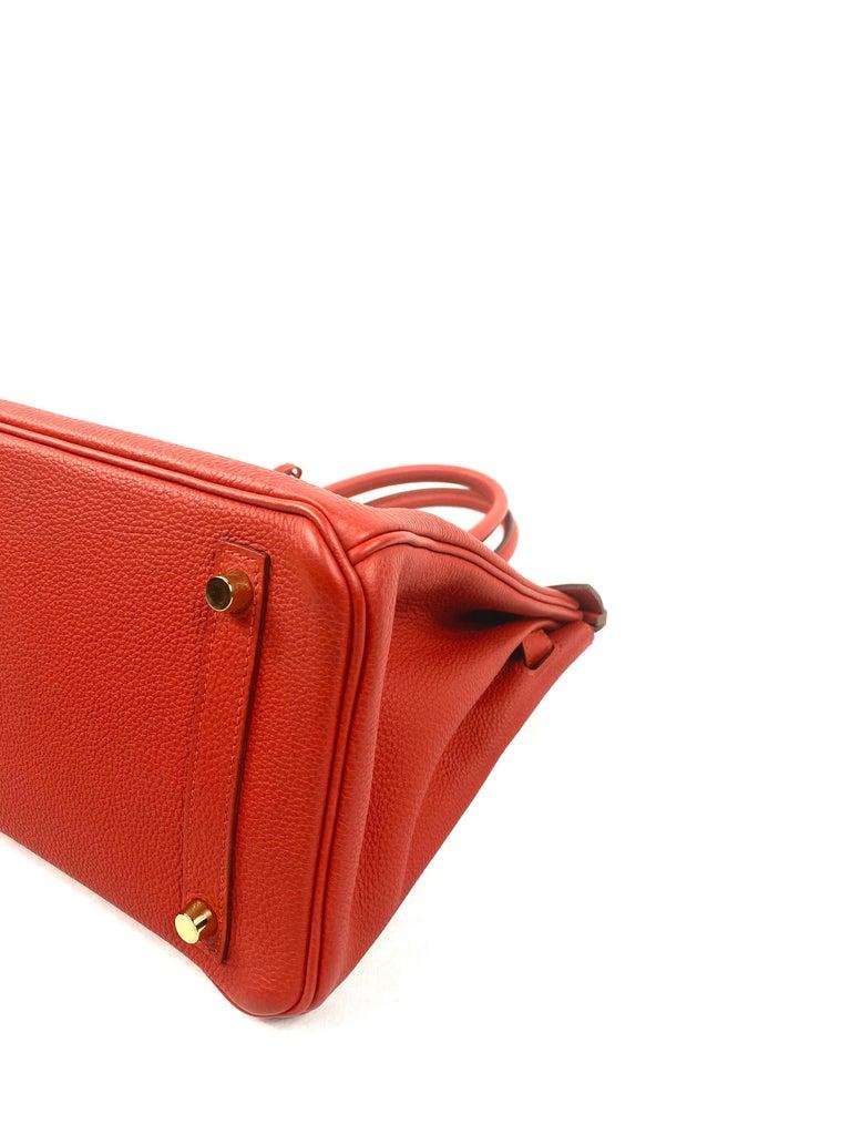 Hermes Birkin 30 Veau Togo Geranium Red Vermillon Handbag  For Sale 4