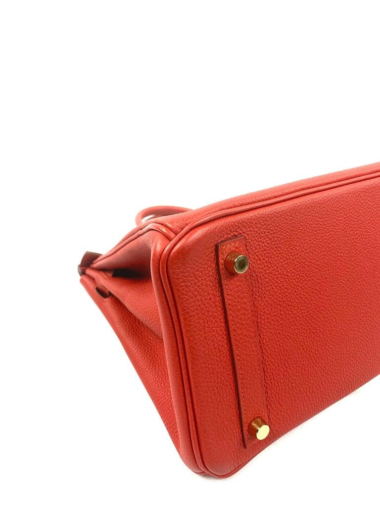 Hermes Birkin 30 Veau Togo Geranium Red Vermillon Handbag  For Sale 5