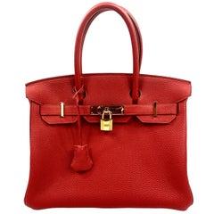 Hermes Birkin 30 Veau Togo Geranium Red Vermillon Handbag