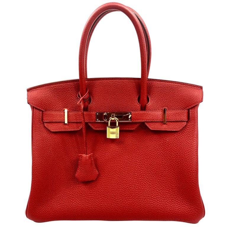 Hermes Birkin 30 Veau Togo Geranium Red Vermillon Handbag  For Sale