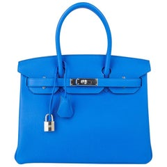Hermes Birkin 30 Bag Verso Blue Zanzibar Malachite Togo Palladium Hardware