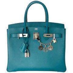 Hermes Birkin 30 Vert Bosphore Epsom Palladium Handbag Bag