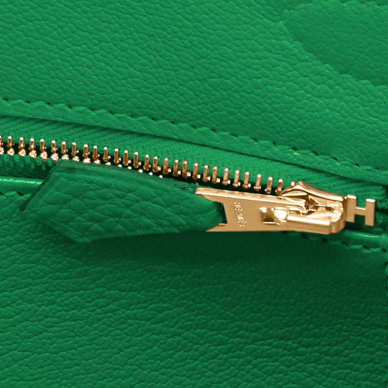 Hermes Birkin 30cm Bambou Bamboo Bag Green Gold Hardware Y Stamp, 2020  For Sale 7