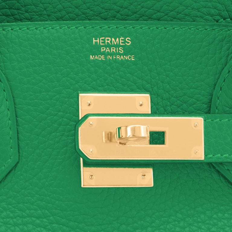 Hermes Birkin 30cm Bambou Bamboo Bag Green Gold Hardware Y Stamp, 2020  For Sale 8